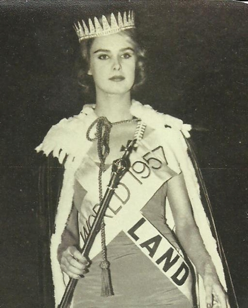 En världserkänt snygg kvinna, finländaren Marita Lindahl, Miss World år 1957.