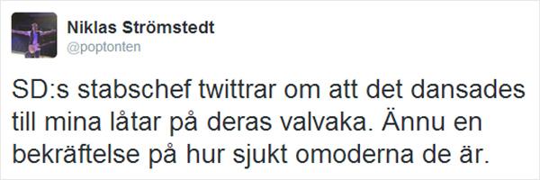 Niklas Strömstedt (@poptonten) är föga smickrad av SDs musikval.